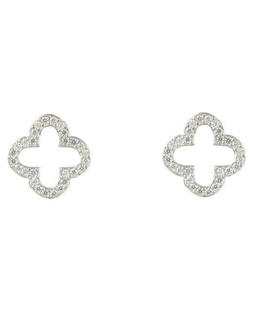 Latelita London - Metallic Silver Open Clover Earring - Lyst