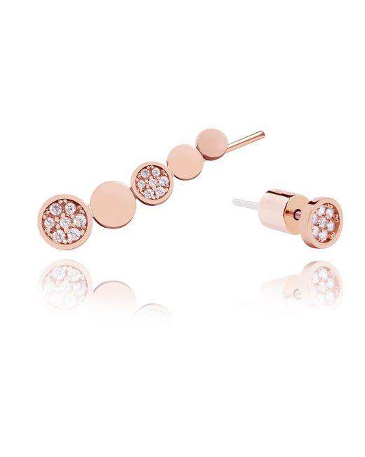 Astrid & Miyu | Pink Black Magic Circle Earrings In Rose Gold | Lyst