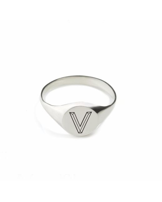 Myia Bonner | Metallic Silver V Facett Initial Signet Ring | Lyst