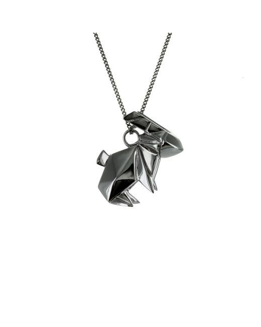 Origami Jewellery - Black Necklace Rabbit Gun Metal - Lyst