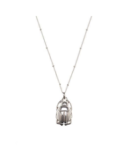Nina Kastens Jewelry | Metallic Mini Scarab Necklace Silver | Lyst