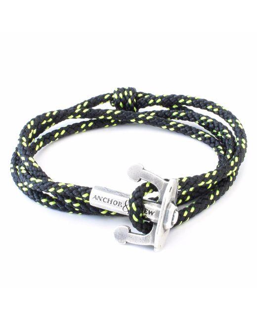 Anchor & Crew   All Black Union Silver & Rope Bracelet for Men   Lyst