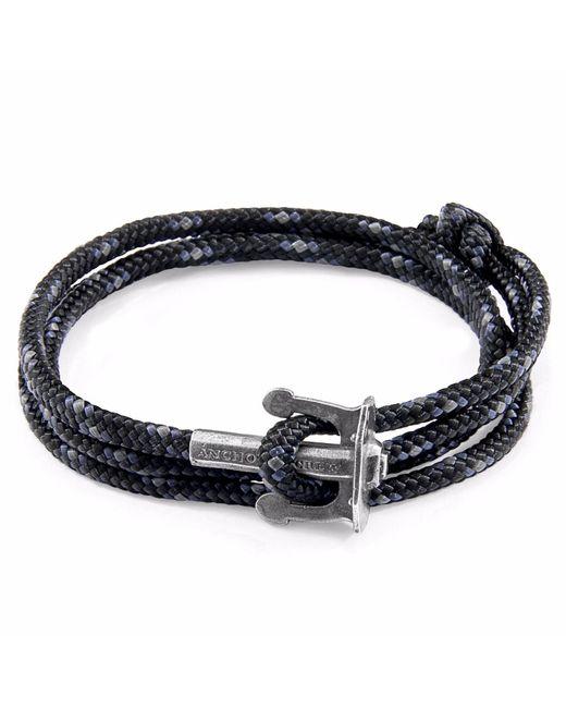 Anchor & Crew | Black Union Silver & Rope Bracelet for Men | Lyst
