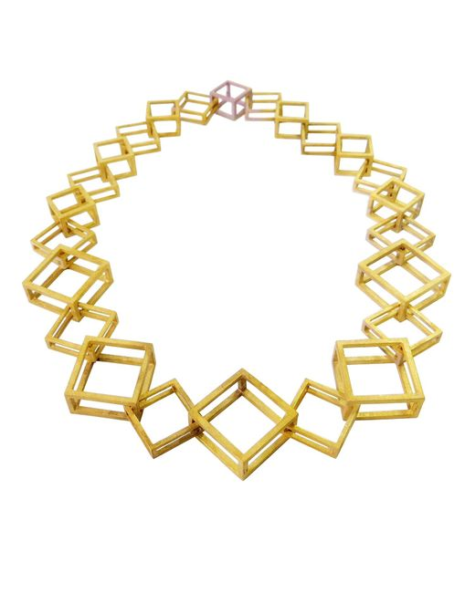 Stephanie Bates | Metallic Gold Geometric Box Link Necklace | Lyst