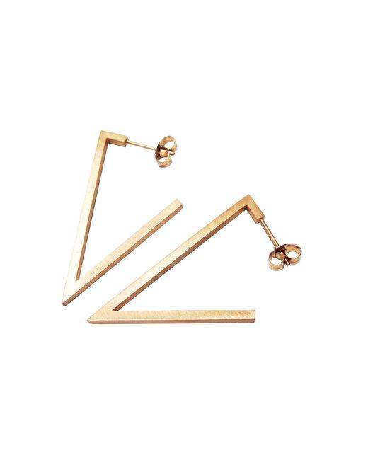 Stephanie Bates | Metallic Rose Gold Triangle Earrings | Lyst