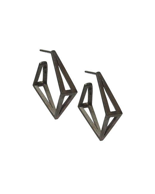 Stephanie Bates | Black Med Oxidised Silver Kite Hoop Earrings | Lyst