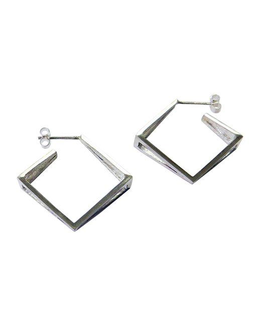 Stephanie Bates   Metallic Med Silver Kite Hoop Earrings   Lyst