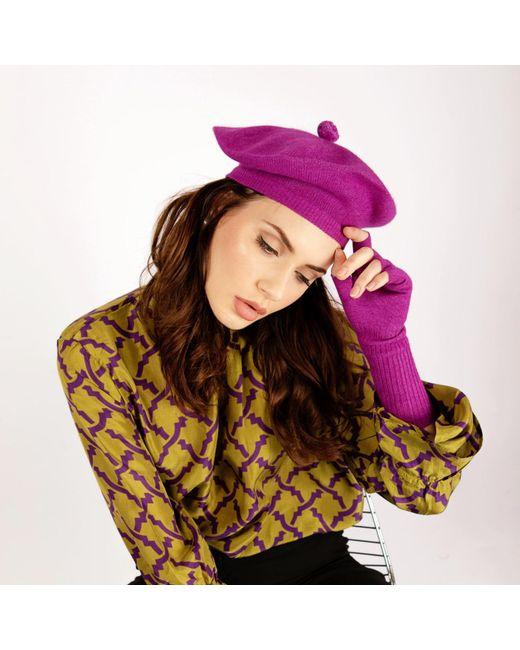 65e2dbb9a834d Asneh Fallon Purple Pom-pom Knitted Silk Cashmere Beret in Purple - Lyst