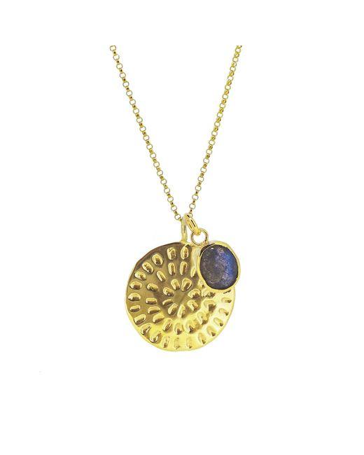 Yvonne Henderson Jewellery - Metallic Moroccan Inspired Large Organic Disc Pendant With Labradorite Charm Gold - Lyst