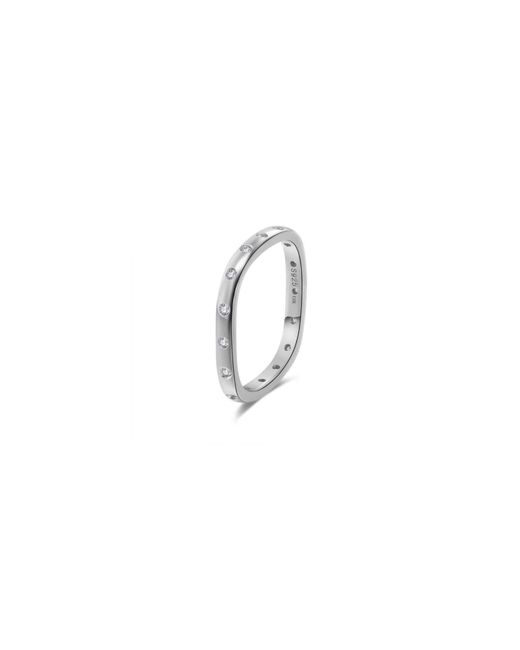 Opes Robur | Metallic Solid Silver Stacking Ring With Diamonds | Lyst