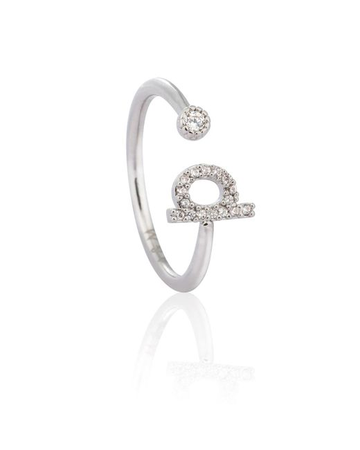 Astrid & Miyu - Metallic Silver Initial P Ring - Lyst