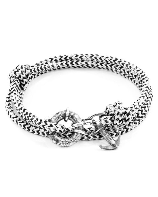 Anchor & Crew - White Noir Clyde Silver & Rope Bracelet for Men - Lyst