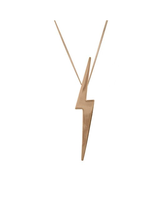 Edge Only | Metallic Skinny Lightning Bolt Pendant Gold | Lyst