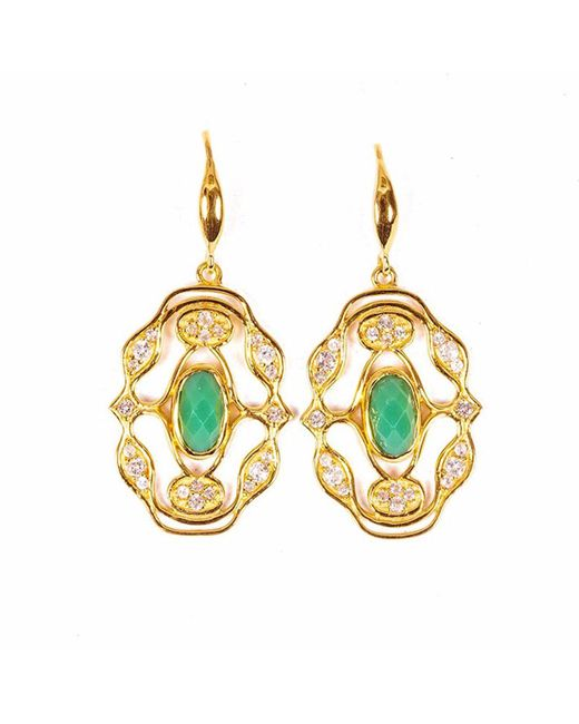 Neola | Metallic Norresa Gold Earrings With Chrysoprase | Lyst