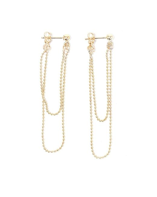 Alice Eden | Metallic Gold Ball Chain Double Loop Earrings | Lyst