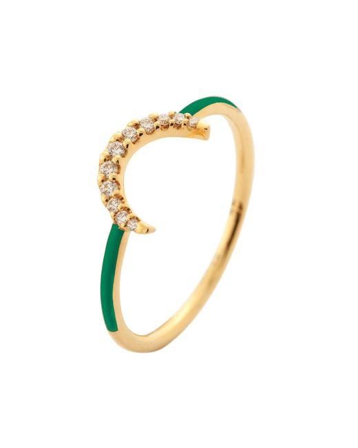 Eshvi - Half Moon Green Ring - Lyst
