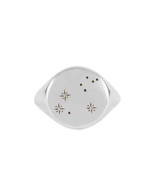 No 13 | Metallic Leo Constellation Signet Ring Diamonds & Oxydised Silver | Lyst