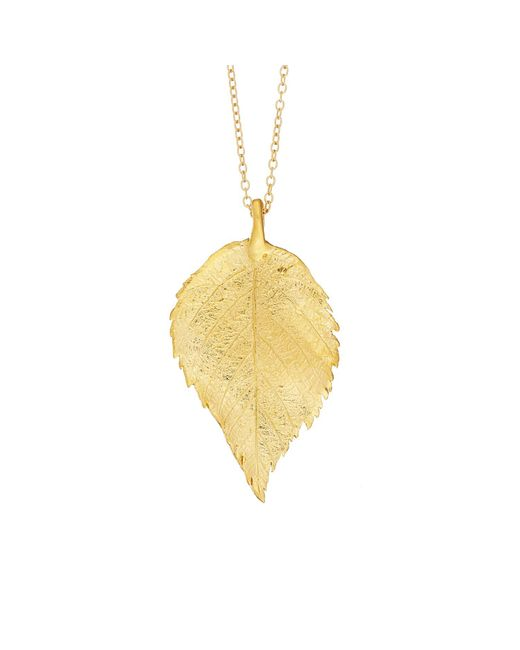 Chupi | Metallic Maxi Raspberry Leaf Necklace Gold | Lyst