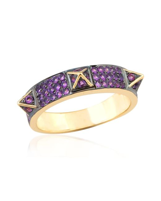 Artisan - Metallic 18k Gold Spike Ring With Pave Amethyst - Lyst
