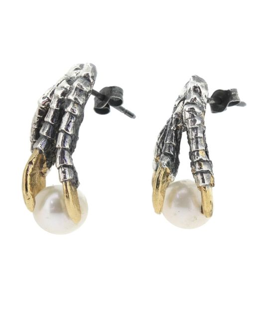 Tessa Metcalfe | Metallic Oxidised Pearl Of London Earrings | Lyst