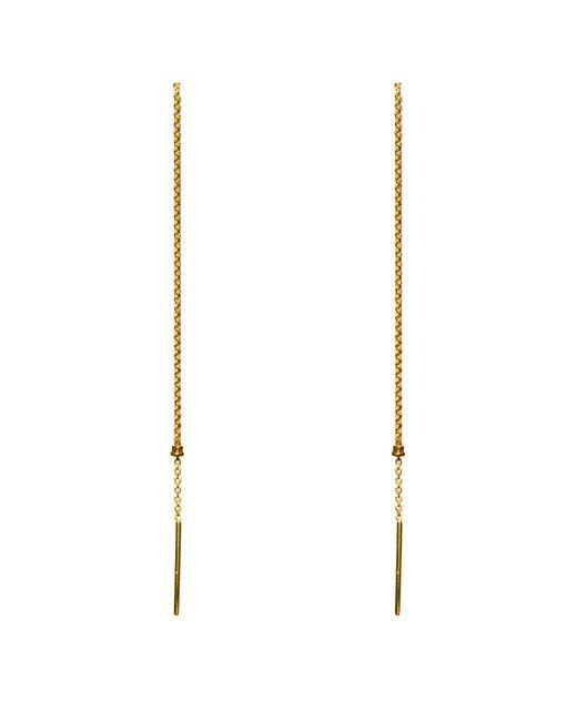 Dutch Basics - Metallic Cylinder Drop Chain Earrings Gold - Lyst
