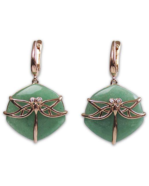 Bellus Domina - Green Aventurine Dragonfly Earrings - Lyst
