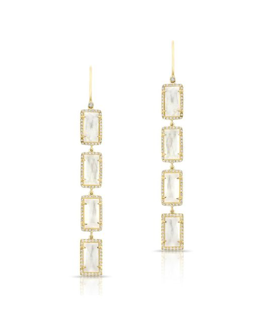 Anne Sisteron - Metallic 14kt Yellow Gold Mother Of Pearl Diamond Rectangle Drops Earrings - Lyst