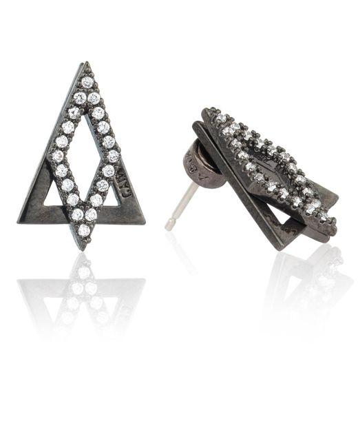 Astrid & Miyu   Gray Diamond Ear Jacket In Gunmetal   Lyst