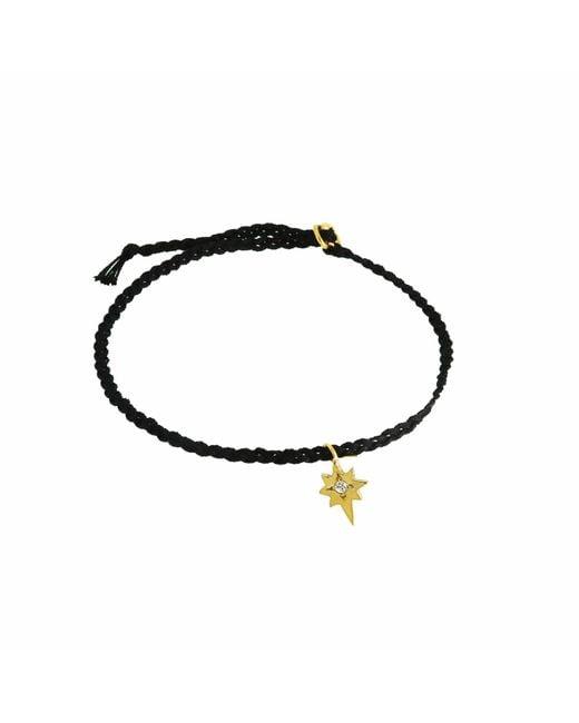 Yvonne Henderson Jewellery - Metallic Tiny North Star Friendship Bracelet On Black Silk - Lyst