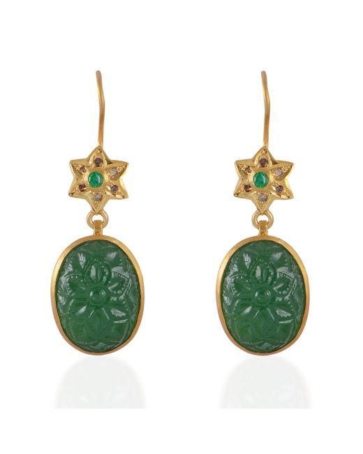 Emma Chapman Jewels   Green Samsara Diamond & Tsavorite Carved Earrings   Lyst