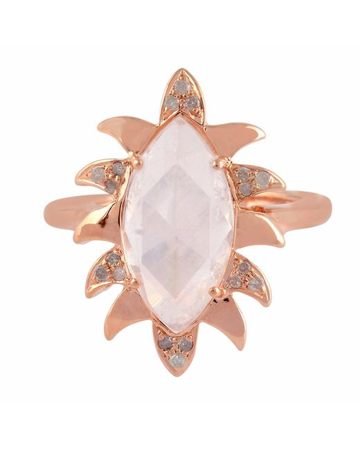 Meghna Jewels | Pink Claw Marquise Ring Moonstone & Diamonds | Lyst