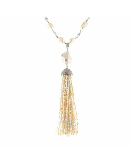 Cosanuova - White Pearl & Pearl Tassel Necklace - Lyst