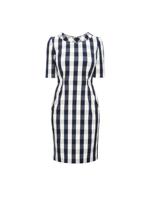 Rumour London Blue Juliette Navy Stretch Cotton Gingham Dress With Raised Collar