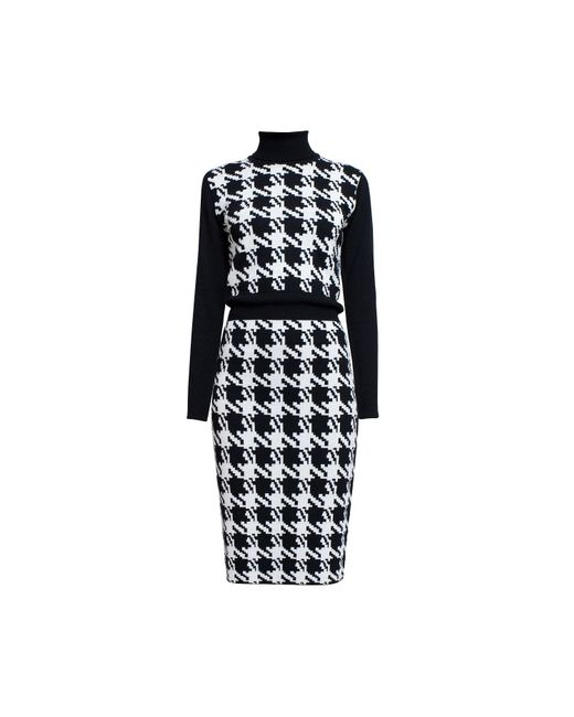 Rumour London - White Lina Houndstooth Merino Wool Knitted Dress - Lyst