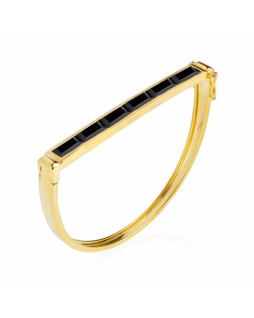 Neola | Metallic Equilibrium Gold Bangle With Black Onyx | Lyst