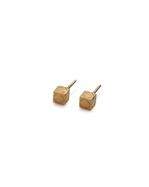 Rachel Entwistle | Metallic Cube Studs Gold | Lyst