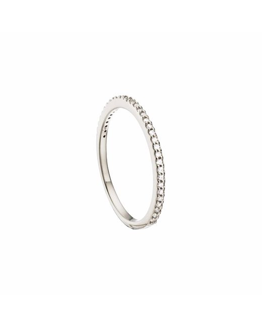 Lily & Roo - Metallic Sterling Silver Diamond Style Stacking Ring - Lyst