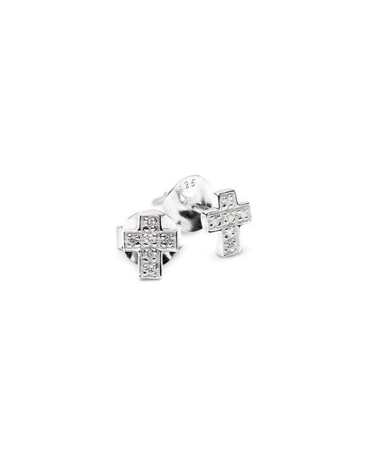 Isabel Lennse - Metallic Mini Cross White Diamond Eearrings - Lyst