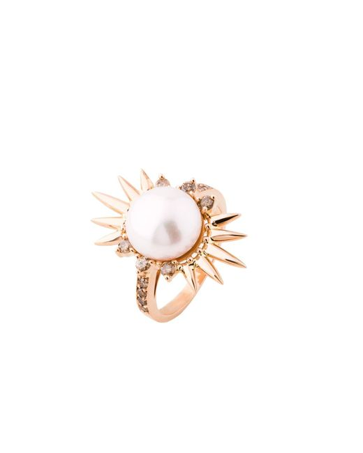 Joana Salazar | Metallic Spike Pearl Single Ring | Lyst