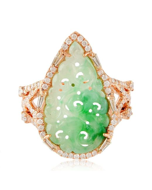 Artisan - Green 18k Rose Gold Carved Jade Ring With Diamonds - Lyst