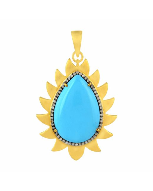 Meghna Jewels | Blue Flame Pendant Turquoise & Diamonds | Lyst