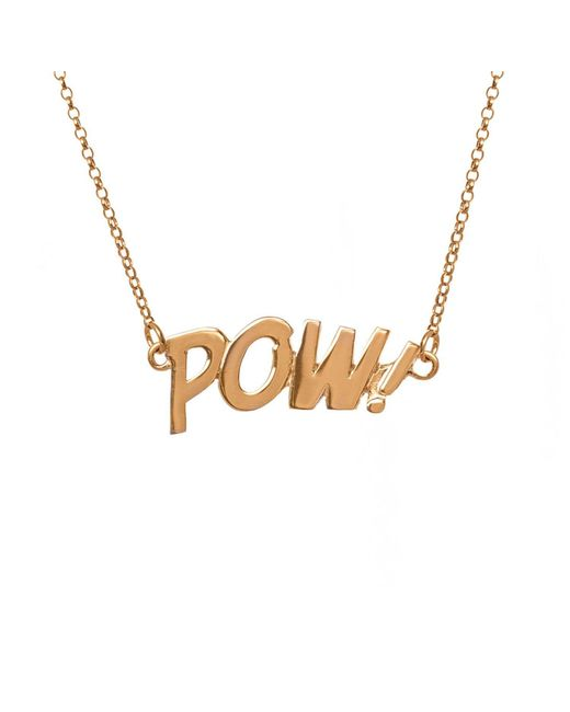 Edge Only - Metallic Pow Letters Necklace Large In Gold - Lyst