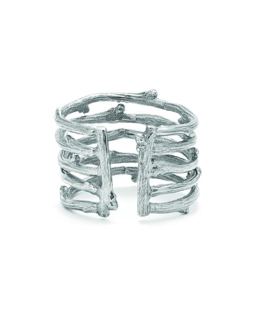 Chupi - Metallic Love Is All You Need Twig Ring In Silver - Lyst