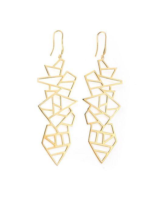 Ona Chan Jewelry | Metallic Long Multi Lattice Drop Earrings Yellow Gold | Lyst