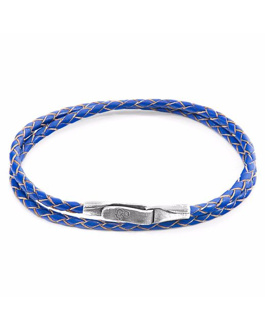 Anchor & Crew | Royal Blue Liverpool Silver & Leather Bracelet for Men | Lyst