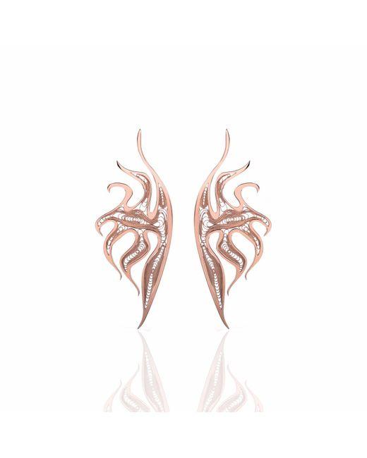 Nooneh London - Metallic Atlantis Statement Earrings Rose Gold - Lyst