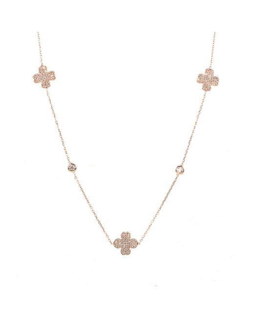 Latelita - Metallic Lucky Clover Long Necklace Rosegold - Lyst