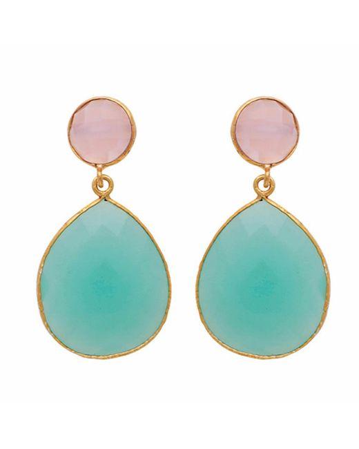 Carousel Jewels | Multicolor Rose Quartz & Aqua Chalcedony Double Drop Earrings | Lyst