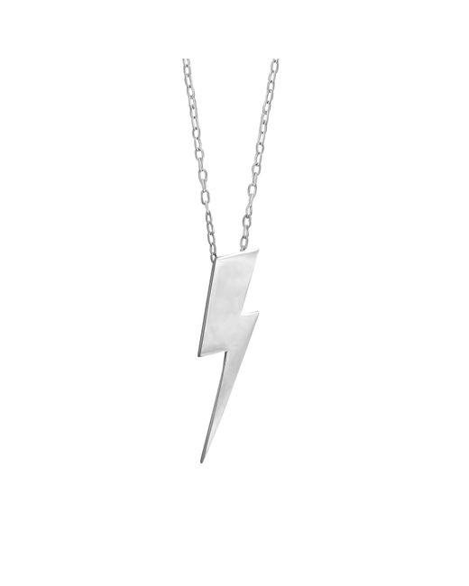 Edge Only - Metallic Flat Top Lightning Bolt Pendant Long Silver - Lyst