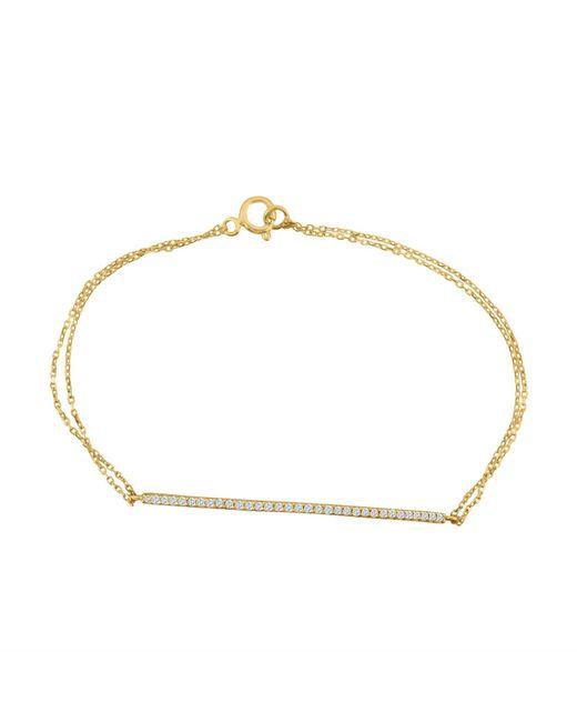 Talia Naomi | Metallic Finish Line Pavé Bracelet Gold | Lyst